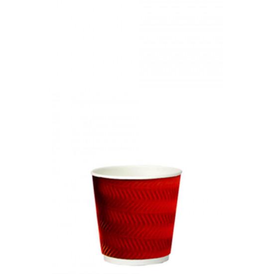 Стакан бумажный гофрированный S-волна 110мл | Красный с Белой стенкой Ø=61мм, h=55мм