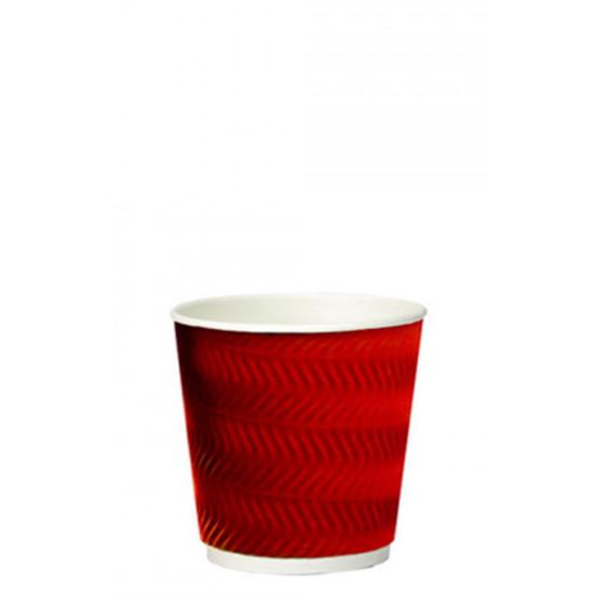 Стакан бумажный гофрированный S-волна 185мл | Красный с Белой стенкой Ø=70мм, h=71мм