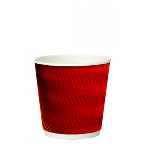 Стакан бумажный гофрированный S-волна 250мл   Красный с Белой стенкой Ø=80мм, h=89мм