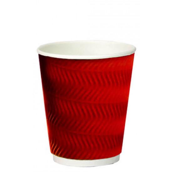 Стакан бумажный гофрированный S-волна 350мл | Красный с Белой стенкой Ø=90мм, h=110мм
