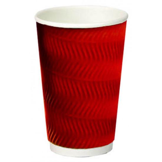 Стакан бумажный гофрированный S-волна 450мл | Красный с Белой стенкой Ø=90мм, h=140мм