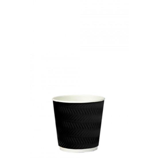 Стакан бумажный гофрированный S-волна 110мл | Черный с Белой стенкой Ø=61мм, h=55мм