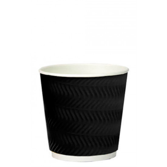 Стакан бумажный гофрированный S-волна 185мл | Черный с Белой стенкой Ø=70мм, h=71мм