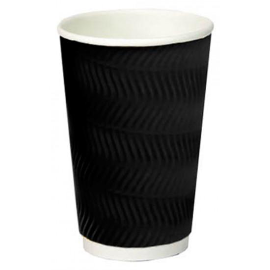 Стакан бумажный гофрированный S-волна 450мл   Черный с Белой стенкой Ø=90мм, h=140мм