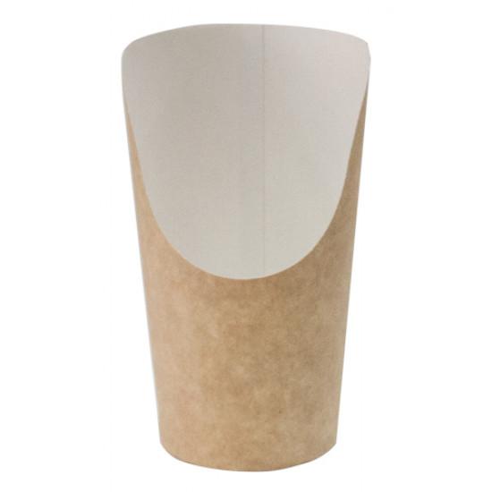 Стакан бумажный для снеков | Крафт/Белая 1PE 88*61*130мм