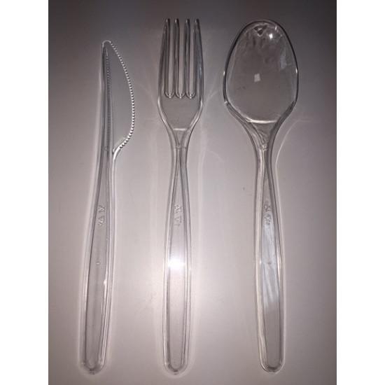 Набор столовых приборов PS одноразовых | Прозрачный (вилка, ложка, нож, салфетка)
