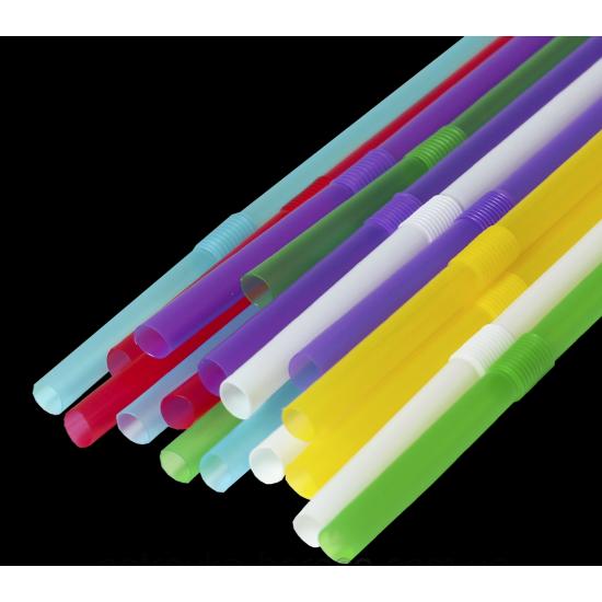 Трубочка (соломинка) с коленом d=210мм | Разноцветная (1000шт/уп)