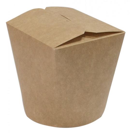 Коробка бумажная для лапши (Паста Бокс) 500мл | Крафт CKB/Белая 1PE Ø=85мм, h=96мм
