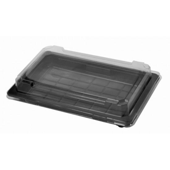 Контейнер PS для суши с прозрачной крышкой 500мл | Черный 215*135*20мм