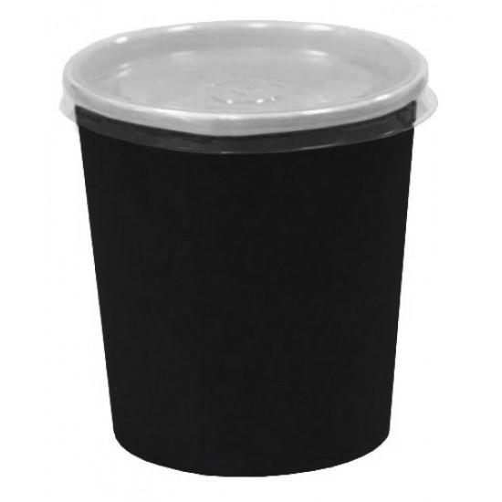 Контейнер бумажный 500мл | Черный 2PE Ø=98мм, h=100мм