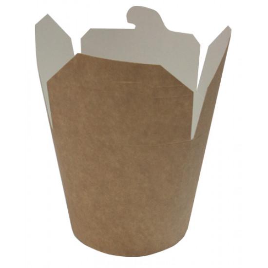 Коробка бумажная для лапши (Паста Бокс) 750мл | Крафт/Белая 1PE Ø=95мм, h=95мм