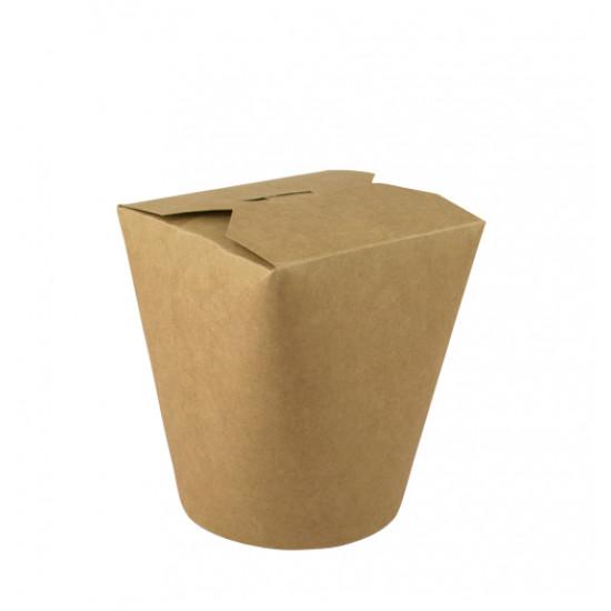 Коробка бумажная для лапши (Паста Бокс) 600мл | Крафт/Крафт 1PE Ø=88мм, h=103мм