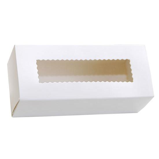 Коробка бумажная для макарун с окошком   Белая 1PE 141*59*49мм