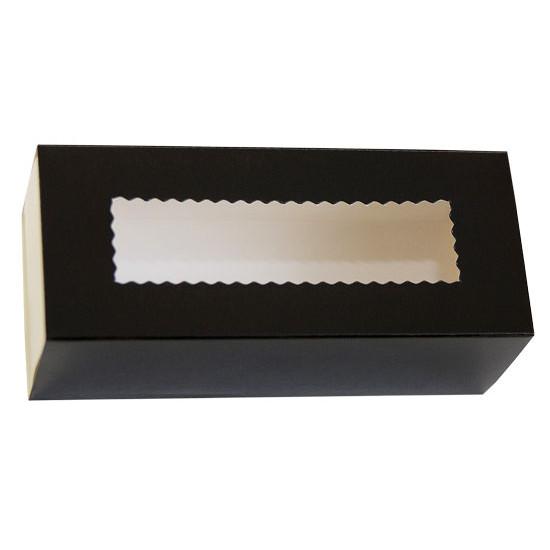 Коробка бумажная для макарун с окошком | Черная/Белая 1PE 141*59*49мм