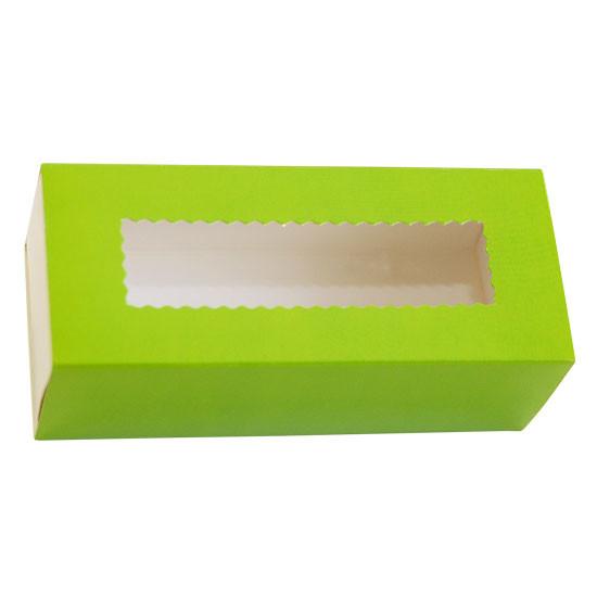 Коробка бумажная для макарун с окошком | Зеленая/Белая 1PE 141*59*49мм