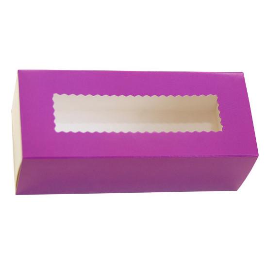 Коробка бумажная для макарун с окошком   Фиолетовая/Белая 1PE 141*59*49мм