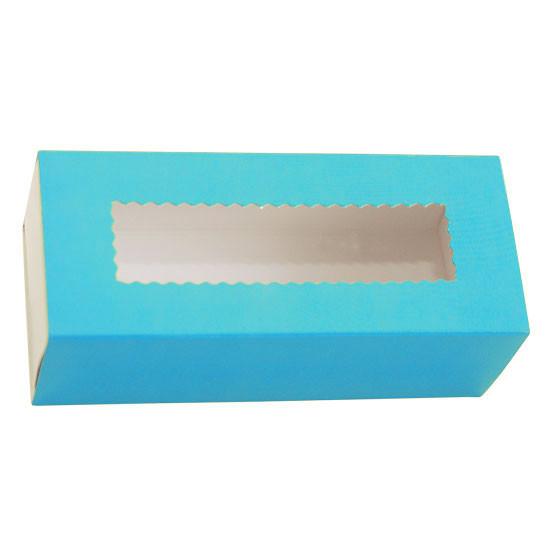 Коробка бумажная для макарун с окошком   Голубая/Белая 1PE 141*59*49мм