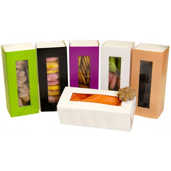 Коробка бумажная для макарун с окошком | Пастель/Белая 1PE 141*59*49мм
