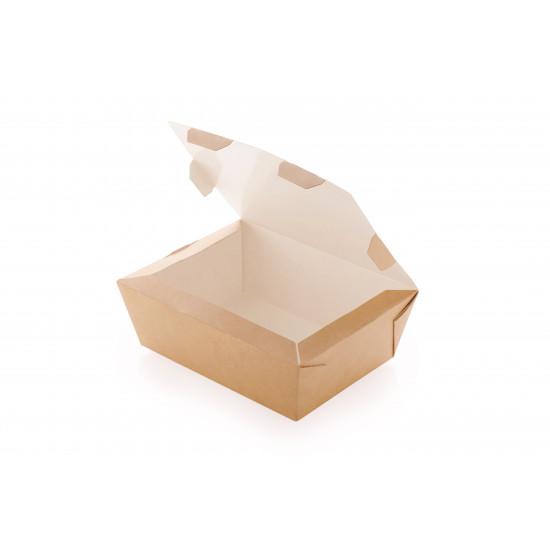 Ланч-бокс бумажный 1000мл   Крафт/Белая 1PE 190*150*50мм