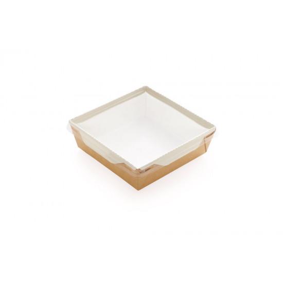 Контейнер бумажный 900мл с плоской PET крышкой | Крафт/Белая 1PE 150*150*50мм