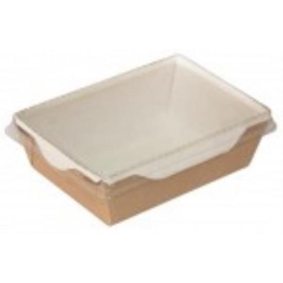 Контейнер бумажный 400мл с плоской PET крышкой | Крафт/Белая 1PE 145*100*45мм