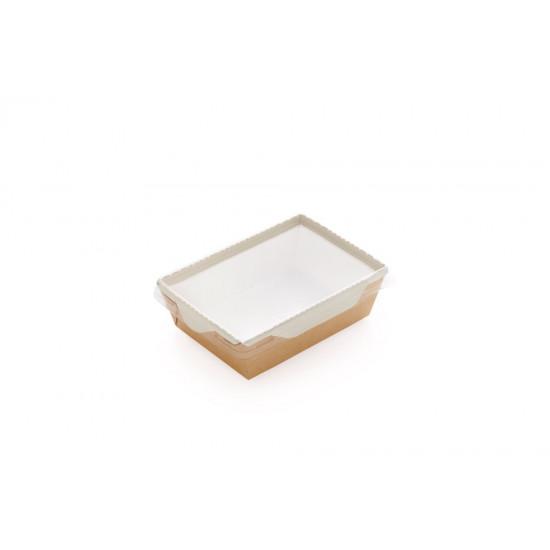 Контейнер бумажный 800мл с плоской PET крышкой   Крафт/Белая 1PE 186*106*55мм