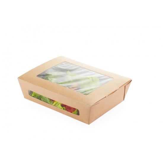 Ланч-бокс бумажный с 2-мя окошками 600мл | Крафт/Белая 1PE 150*115*50мм
