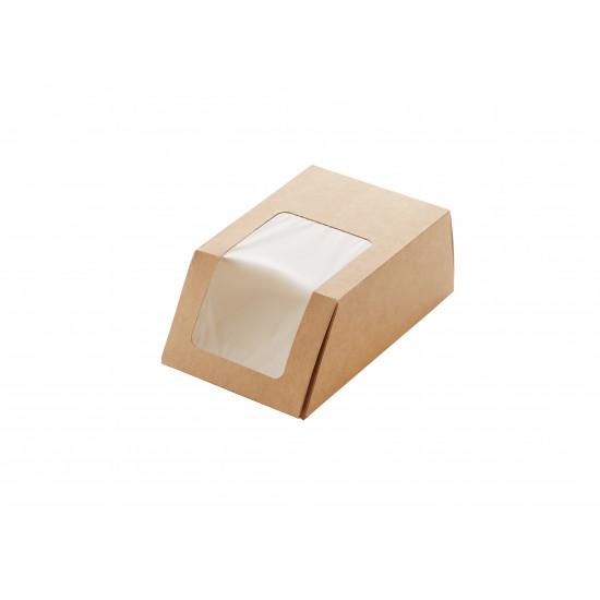 Упаковка бумажная для роллов, тортильи с окошком   Крафт/Белая 1PE 90*50*130мм