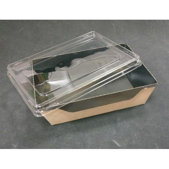 Контейнер бумажный 400мл с плоской PET крышкой | Крафт/Черная 1PE 145*100*45мм