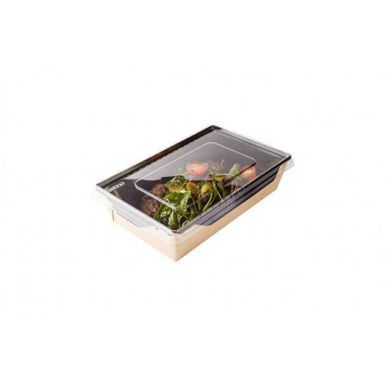 Контейнер бумажный 800мл с плоской PET крышкой | Крафт/Черная 1PE 186*106*55мм