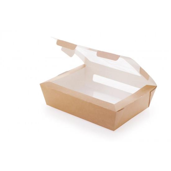 Контейнер бумажный с окошками 1000мл | Крафт/Белая 1PE 190*150*50мм