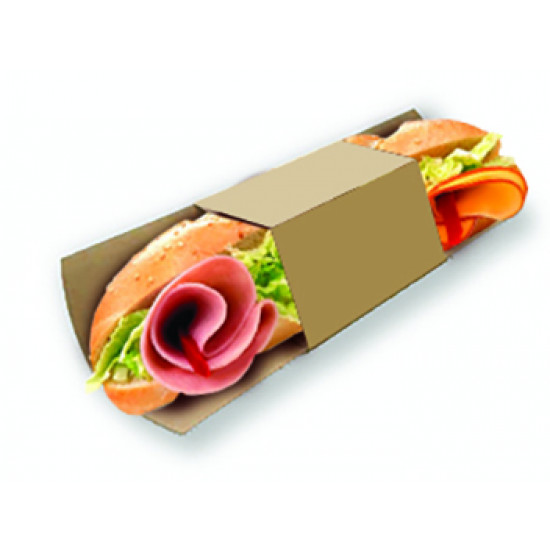 Подложка бумажная с кольцом для роллов, багетов   Крафт 230*91мм