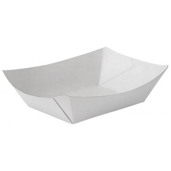 Тарелка-лодочка бумажная большая | Белая 138*82*50мм