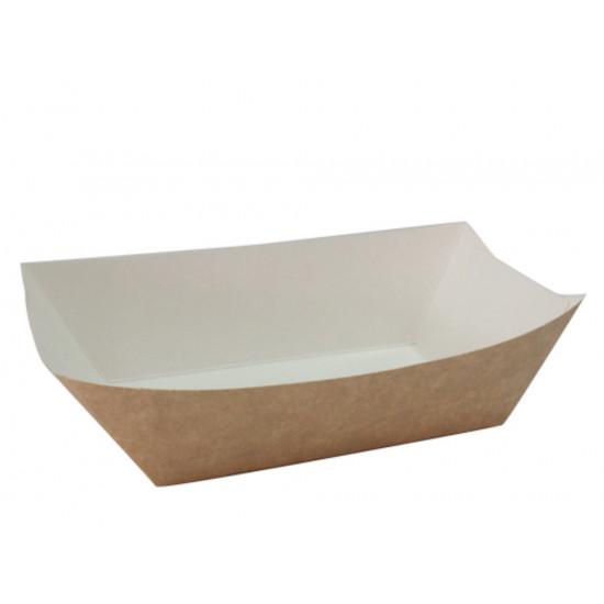 Тарелка-лодочка бумажная большая | Крафт 138*82*50мм