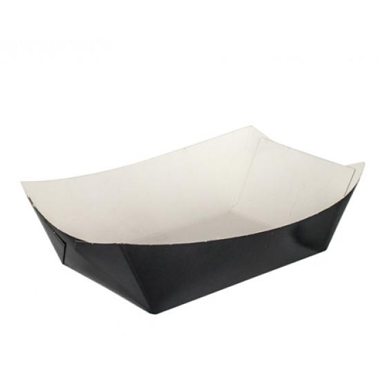 Тарелка-лодочка бумажная большая | Черная 138*82*50мм