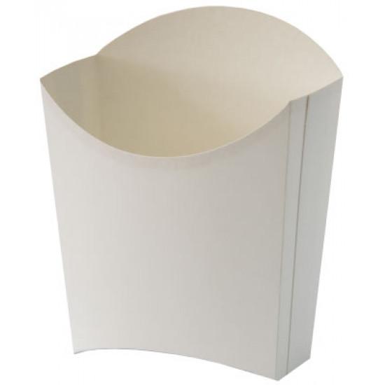 Коробка бумажная для картошки фри (XL) большая | Белая 77*163мм