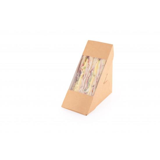 Контейнер для сэндвича бумажный с окошком | Крафт/Белая 1PE 120*120*60мм