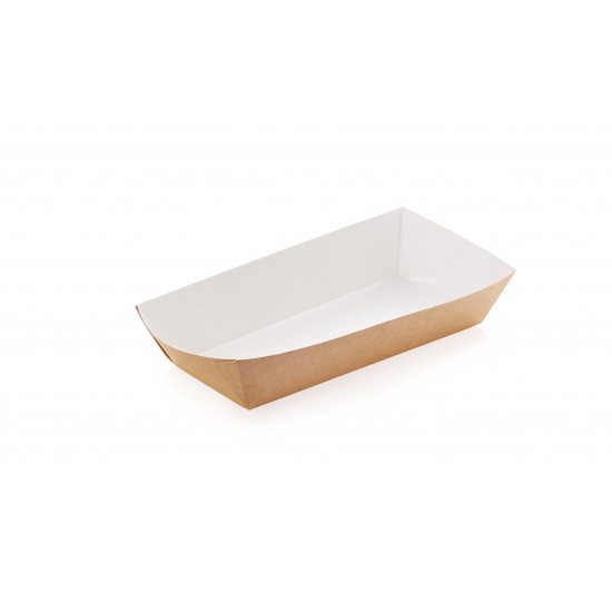 Тарелка-лодочка бумажная большая | Крафт/Белая 1PE 190*85*42мм