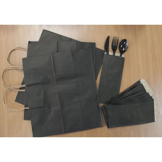 Крафт Пакеты бумажные с кручеными ручками | Черный 330*160*260мм