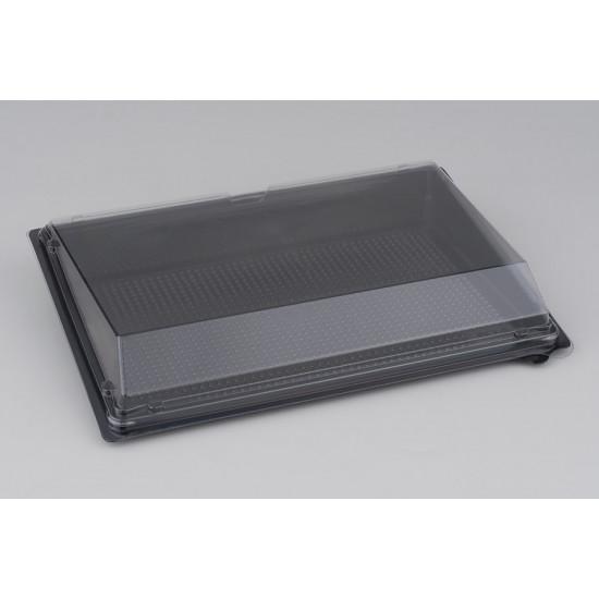 Контейнер PET для суши большой (витрина, дно, без делений) | Черный 235*162*32мм