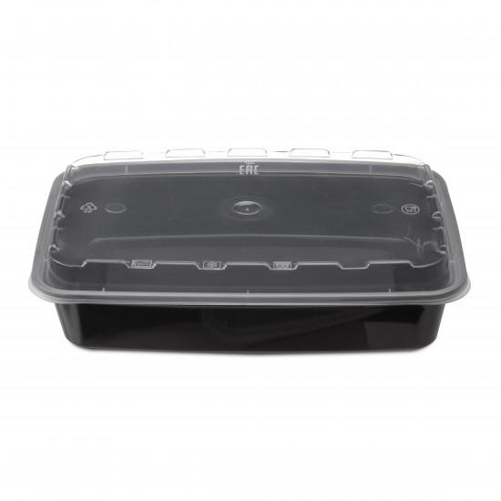 Контейнер ланч-бокс PP 830мл с крышкой | Черный 207*140*40мм