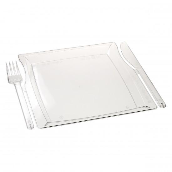 Комбо тарелка (вилка+нож) | Прозрачная 225*195*12мм