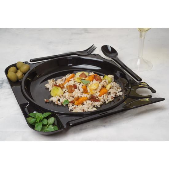 Комбо тарелка (вилка+нож+ложка) | Черная 250*250*20мм
