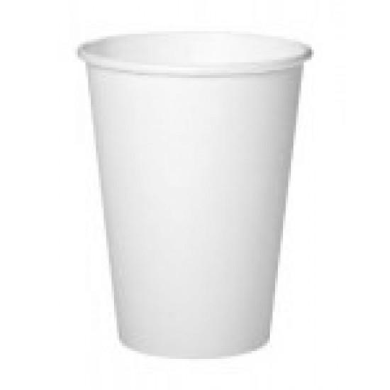 Стакан бумажный однослойный 340мл | Белый Ø=80мм, h=110мм