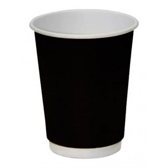 Стакан бумажный двухслойный 350мл | Черный с Белой стенкой Ø=90мм, h=111мм