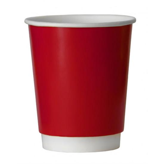 Стакан бумажный двухслойный 250мл | Красный с Белой стенкой Ø=80мм, h=92мм