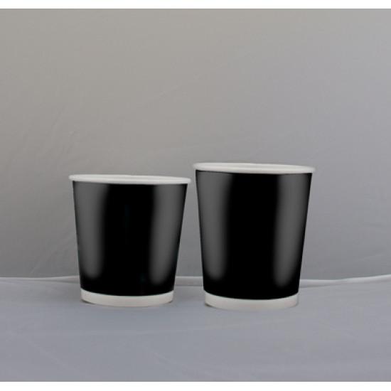 Стакан бумажный двухслойный 180мл | Черный с Белой стенкой Ø=69мм, h=52мм