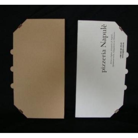 Коробка для половинки пиццы из гофрокартона | Белый 160*320*30мм