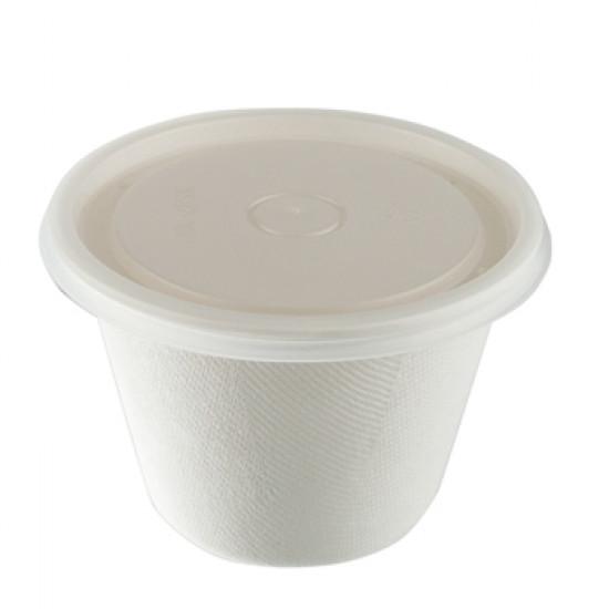 Контейнер круглый из сахарного тростника 470мл   Белый Ø=116мм, h=85мм
