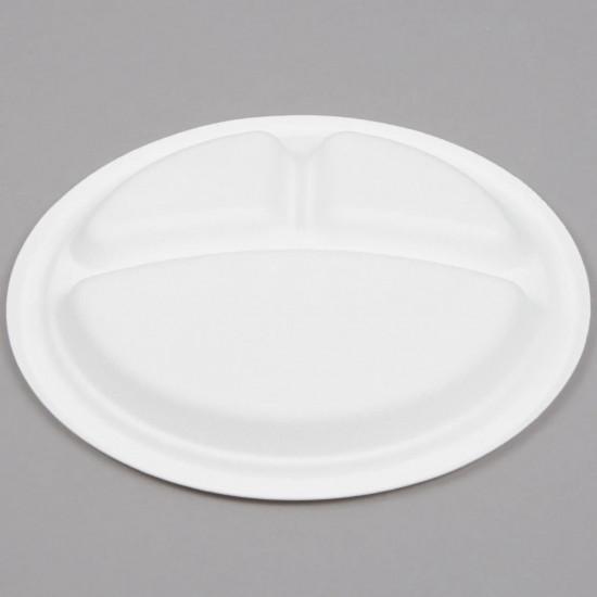Тарелка из сахарного тростника 3-х секционная Ø=230мм | Белая